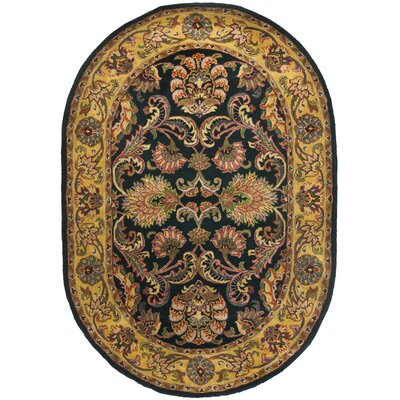 Golden Jaipur Antiquity Black/Gold Area Rug Rug Size: Oval 46 x 66