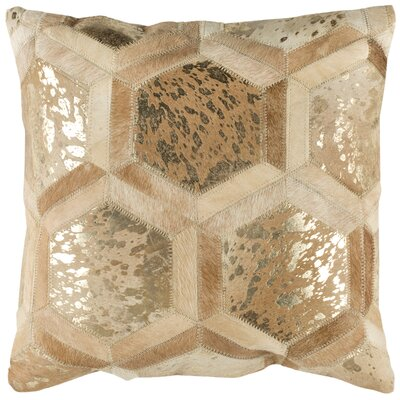 Jordynn Metallic Natural Throw Pillow Color: Beige/Gold