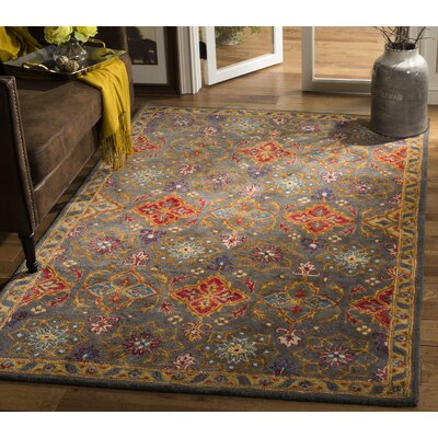 Albrightsville Hand Tufted Wool Charcoal Oriental Area Rug Rug Size: Rectangle 5 x 8