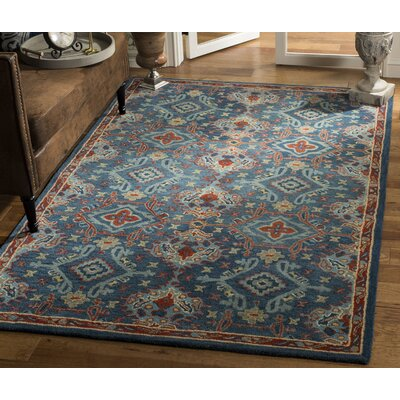 Albrightsville Hand Woven Wool Blue Area Rug Rug Size: Rectangle 5 x 8