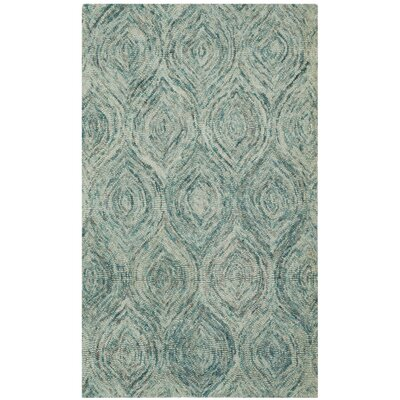 Ikat Ivory & Blue Area Rug Rug Size: Rectangle 3 x 5
