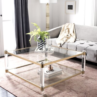 Perkins Coffee Table Color: Clear/Brass