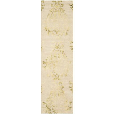 Dip Dye Hand-Woven Green/Ivory Area Rug Rug Size: Runner 23 x 8