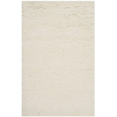 Flokati Hand-Tufted Wool Ivory Area Rug Rug Size: Rectangle 26 x 4