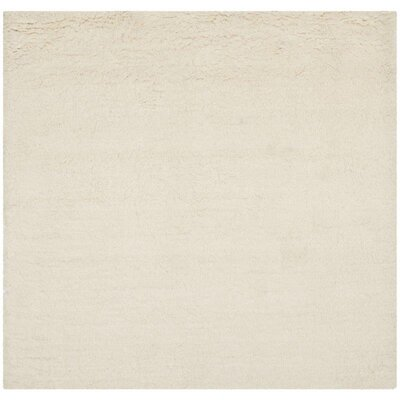 Flokati Hand-Tufted Wool Ivory Area Rug Rug Size: Square 6