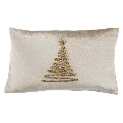 Briggsvale Enchanted Evergreen Lumbar Pillow Color: Beige/Gold