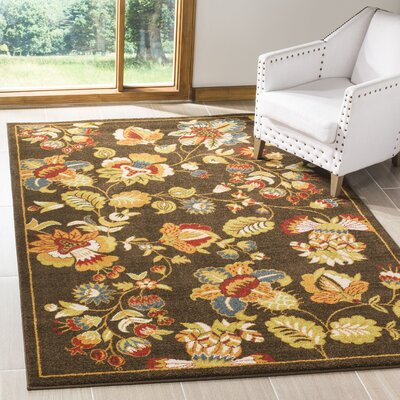 Newport Brown/Green Floral Area Rug Rug Size: Rectangle 3 x 5