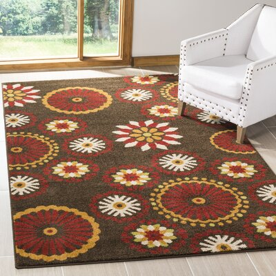 Newport Brown/Red Area Rug Rug Size: Rectangle 8 x 10