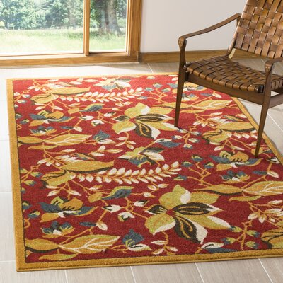 Newport Red/Gold Floral Area Rug Rug Size: Rectangle 51 x 76
