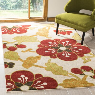 Newport Ivory/Red Area Rug Rug Size: Rectangle 51 x 76