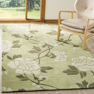 Art Hand-Tufted Green/Ivory Area Rug Rug Size: Square 7