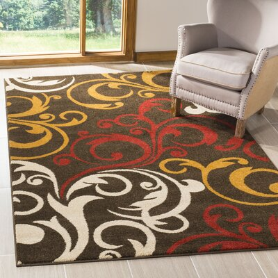 Newport Brown/Gold Area Rug Rug Size: Rectangle 51 x 76