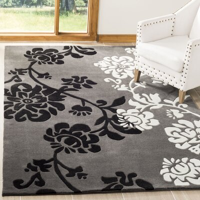 Art Hand-Tufted Dark Gray Area Rug Rug Size: Rectangle 8 x 10
