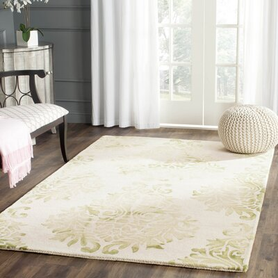 Dip Dye Hand-Woven Green/Ivory Area Rug Rug Size: Rectangle 5 x 8