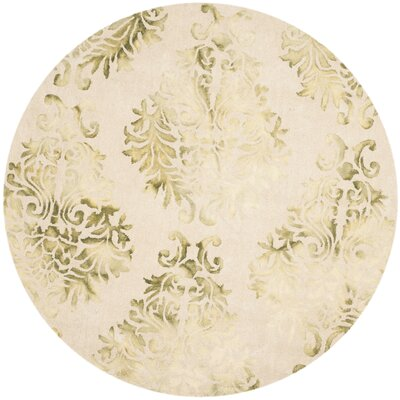 Dip Dye Hand-Woven Green/Ivory Area Rug Rug Size: Round 7