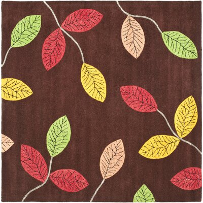 Jardin Brown/Multi Area Rug Rug Size: Square 6