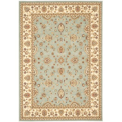 Majesty Light Blue/Cream Area Rug Rug Size: 33 x 53