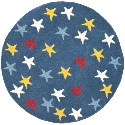 Blue Area Rug Rug Size: Round 4