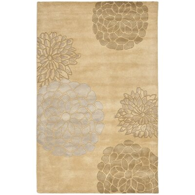 Soho Beige Floral Area Rug Rug Size: Rectangle 76 x 96