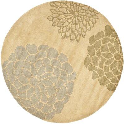 Soho Beige Floral Area Rug Rug Size: Round 6