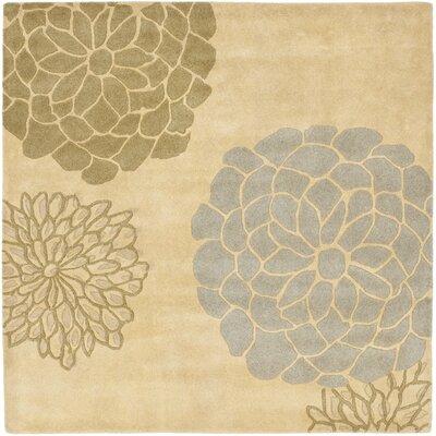 Soho Beige Floral Area Rug Rug Size: Square 6