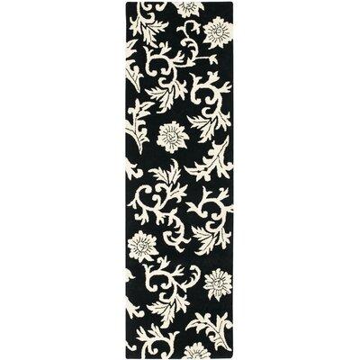 Soho Black/Ivory Floral Area Rug Rug Size: Runner 26 x 8