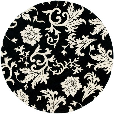 Soho Black/Ivory Floral Area Rug Rug Size: Round 6'