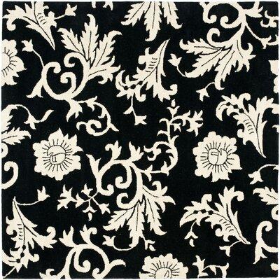 Soho Black/Ivory Floral Area Rug Rug Size: Square 6
