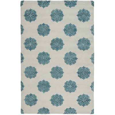 Soho Ivory/Blue Area Rug Rug Size: Rectangle 36 x 56