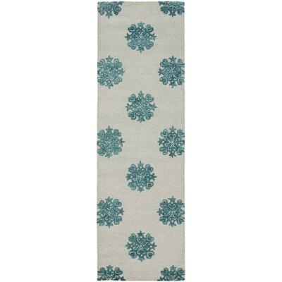 Soho Ivory/Blue Area Rug Rug Size: Runner 26 x 8