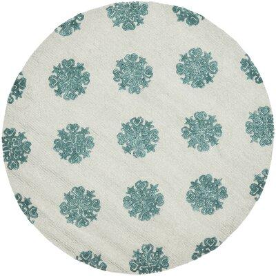 Soho Ivory/Blue Area Rug Rug Size: Round 6