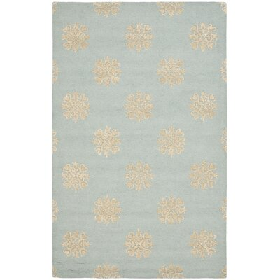 Soho Hand-Woven Wool Light Blue/Beige Area Rug Rug Size: Rectangle 36 x 56