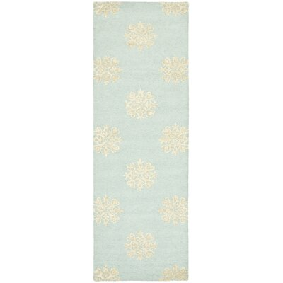 Soho Hand-Woven Wool Light Blue/Beige Area Rug Rug Size: Runner 26 x 14