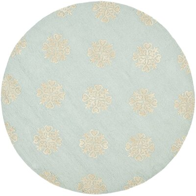 Soho Hand-Woven Wool Light Blue/Beige Area Rug Rug Size: Round 6
