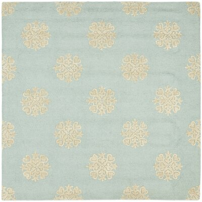 Soho Hand-Woven Wool Light Blue/Beige Area Rug Rug Size: Square 6
