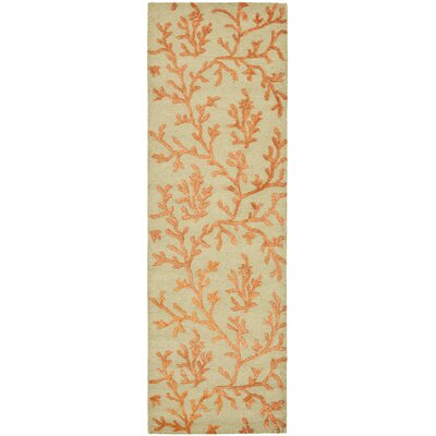 Soho Green/Gold Area Rug Rug Size: Runner 26 x 8
