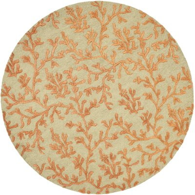Soho Green/Gold Area Rug Rug Size: Round 6