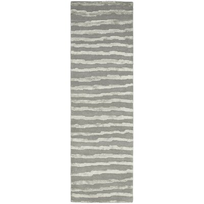 Avonmore Hand-Tufted Wool Gray Area Rug Rug Size: Runner 26 x 8
