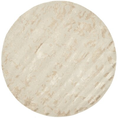 Soho Hand-Woven Wool Ivory Area Rug Rug Size: Round 6