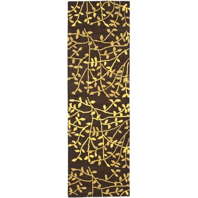 Soho Brown Leaves Area Rug Rug Size: Runner 26 x 8