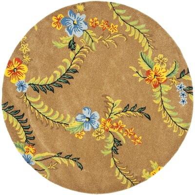 Soho Brown Floral Area Rug Rug Size: Round 6