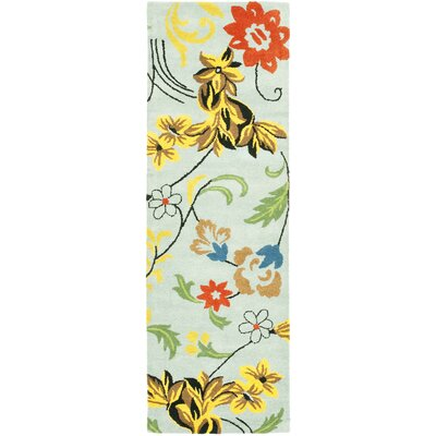 Soho Blue Floral Area Rug Rug Size: Runner 26 x 8