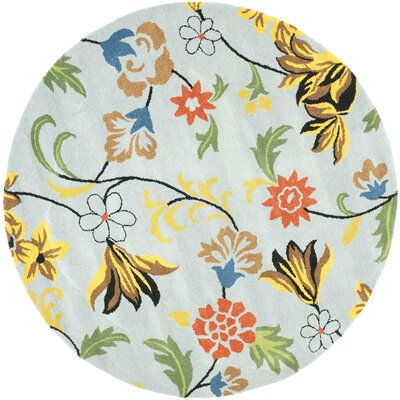 Soho Blue Floral Area Rug Rug Size: Round 6