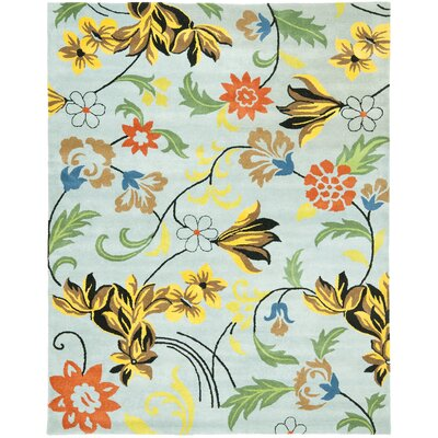 Soho Blue Floral Area Rug Rug Size: Rectangle 3'6