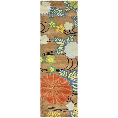Soho Brown Floral Area Rug Rug Size: Runner 2'6