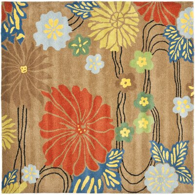 Soho Brown Floral Area Rug Rug Size: Square 6'