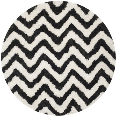 Barcelona Shag Hand-Tufted Cotton White/Black Area Rug Rug Size: Round 5