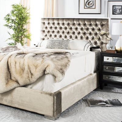 Reynaldo Upholstered Panel Bed Size: King, Color: Champagne