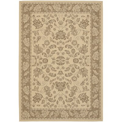 Bexton Brown / Cr�me Outdoor Rectangular Indoor/Outdoor Rug Rug Size: 53 x 77