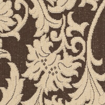 Courtyard Cream / Chocolate Indoor/Outdoor Rug Rug Size: 5 3 x 7 7